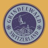 Grindelwald in Switzerland, ski resort. Abstract stamp or emblem with the name of town Grindelwald in Switzerland, ski resort, vector illustration Royalty Free Stock Image