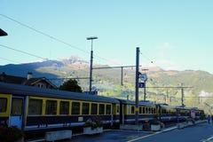 Grindelwald Train Station, Switzerland. Mountains Around Grindelwald Station, Switzerland Royalty Free Stock Image