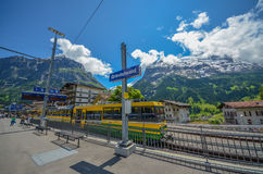 Grindelwald train station, Switzerland Royalty Free Stock Images