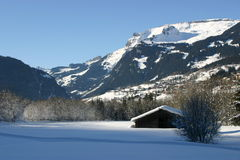 Mountain landscape in winter, snow in the Grindelwald valley Bernese Oberland.  Stock Photos
