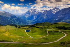 Grindelwald valley from Mannlichen Royalty Free Stock Image