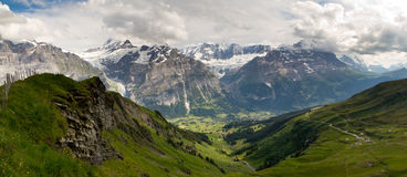 Grindelwald valley panorama Royalty Free Stock Photography
