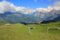 Grindelwald valley seen from Maennlichen. Grindelwald with mountains seen from Maennlichen, Berner Oberland in Switzerland. Field with grass, path and water stock images