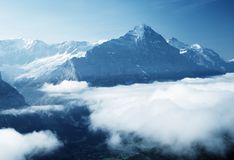 Grindelwald valley from the top of First mountain Royalty Free Stock Photos