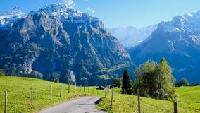 Grindelwald village , Switzerland. Grindelwald village view with the Mountain, Switzerland Stock Photo