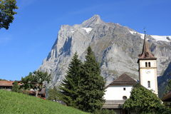 Grindelwald and Wetterhorn Mountain in Jungfrau Stock Photography