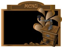 Grinder. Menu board with grinder and coffee beans Stock Images