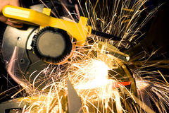 Grinder. Working grinder with sparks and flame stock photo