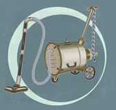 Grinder barrel vacuum cleaner. On wheels royalty free illustration