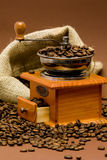Grinder and coffee beans Royalty Free Stock Photo