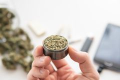 Grinder with fresh weed in hand, joint with marijuana, Cannabis buds. On white table, close up stock photography