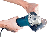 Grinder in hand. Grinder in man hand. Isolated white Stock Photo