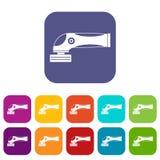 Grinder machine icons set flat Stock Photos