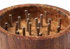 Grinder marihuana detail 10. Grinder marihuana detail. The photo shows a macro photo of a wooden grinder Royalty Free Stock Image