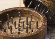 Grinder marihuana detail 3. Grinder marihuana detail. The photo shows a macro photo oof a wooden grinder Stock Photo