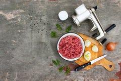 Grinder meat, onions, black pepper, salt, parsley Royalty Free Stock Image