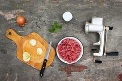 Grinder meat, onions, black pepper, salt, parsley Royalty Free Stock Photos