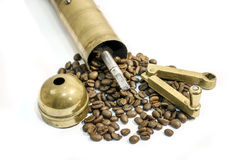 Grinder, old manual coffee mill on white Royalty Free Stock Photo