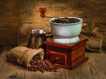 Grinder and other accessories for the coffee Stock Photography