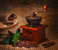 Grinder and other accessories for the coffee stock images