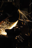 Grinder sparks. Grinding metal, production tool industry Stock Images