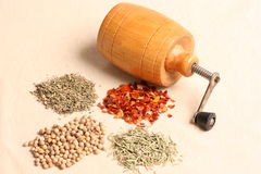 Grinder with spices. Wooden grinder with various kinds of spices Royalty Free Stock Images