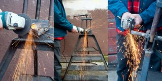 Grinder at work. Photos of grinder at work. Side and front view of plumber working with grinder. Metal pipe at rack and sparks. Set of vertical photos Stock Photos