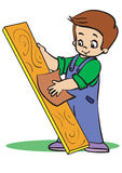Grinding. Boy treats wood with sandpaper Royalty Free Stock Photography
