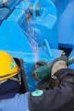 Grinding blue steel Stock Photo