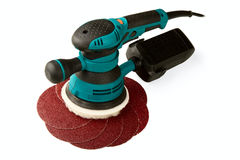 Grinding car and abrasive disks Stock Photography