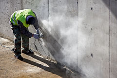 Grinding concrete Stock Photo