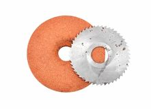 Grinding disc and circular saw blade Stock Images
