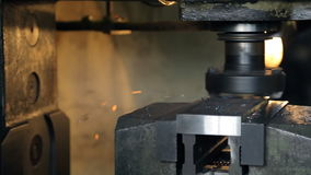 Grinding of horizontal surface on mill of heavy machinery. stock video footage