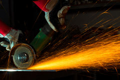 Grinding iron sparks royalty free stock image