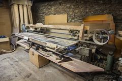Grinding machine carpentry machine in joiners` workshop royalty free stock photo