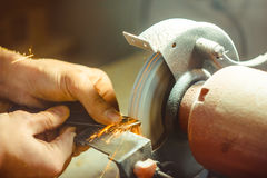 The grinding machine sharpens Royalty Free Stock Image