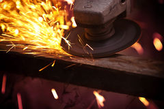 Grinding machine with sparks Stock Image
