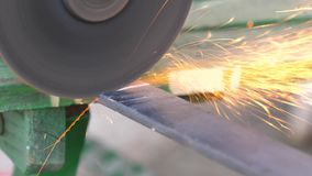 Grinding machine tool being used to cut metal. 4k UHD stock footage