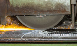 Grinding machine on work and spark Stock Images