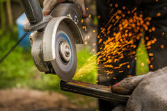 Grinding metal close up. Outdoor Royalty Free Stock Image