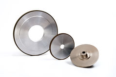 Grinding and polishing wheels set. Industrial grinding and polishing wheels on white background Royalty Free Stock Photos