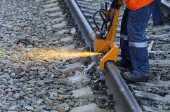 Grinding railway track Stock Photos