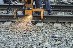 Grinding railway track Stock Photography