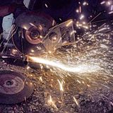 Grinding. Sparks from grinding Royalty Free Stock Photos