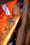 Grinding steel. On a piece of machinery of a mine site Royalty Free Stock Photo