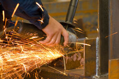 Grinding on steel Royalty Free Stock Image