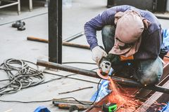 Grinding steel and Steel welding stock photos