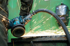 Grinding steel works in workshop Stock Images