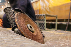 Grinding stones. Close up to the grinding wheel on a grinding stones Royalty Free Stock Photography