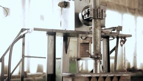 Grinding valves. Production of energy and pipeline valves screwing process stock video